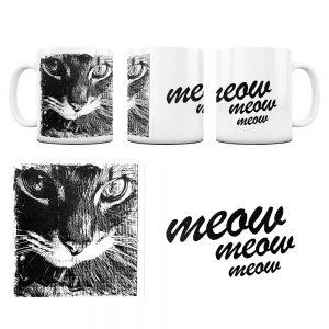Kot Kubek z Grafiką meow #3