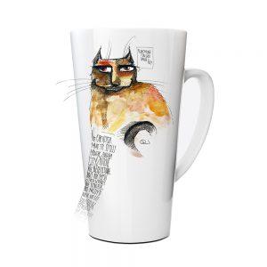 Kubek Latte Autroski HornyKitty z Nadrukiem Ilustracją #1