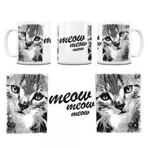 Kot Kubek z Grafiką meow #1
