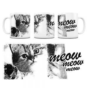 Kot Kubek z Grafiką meow #2