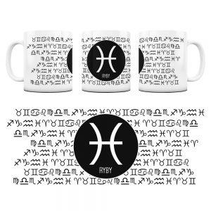 Znaki Zodiaków Hieroglify Kubek Prezent Ryby